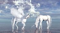 unicornio y pegaso a orillas del mar animales fantásticos y mitológicos